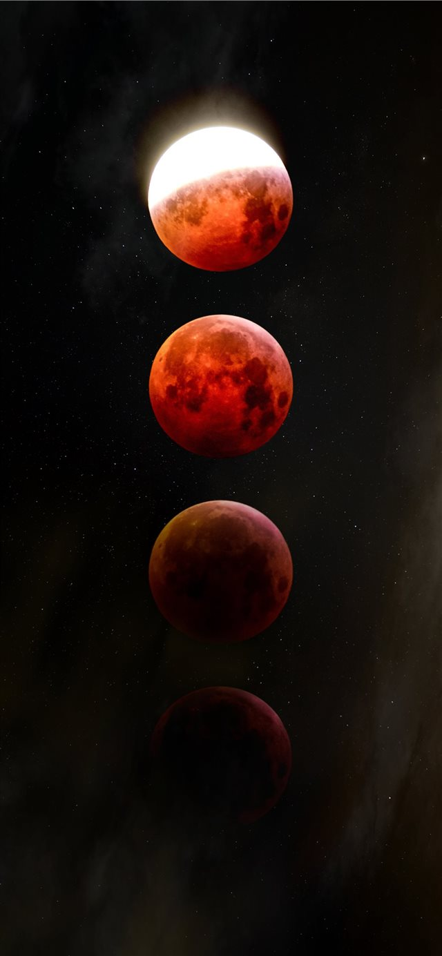 red full moon iPhone X wallpaper