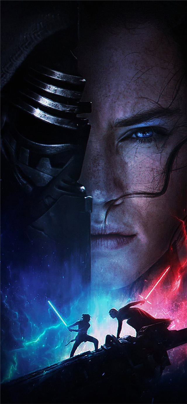 rey vs kylo ren star wars the rise of skywalker 20... iPhone X wallpaper