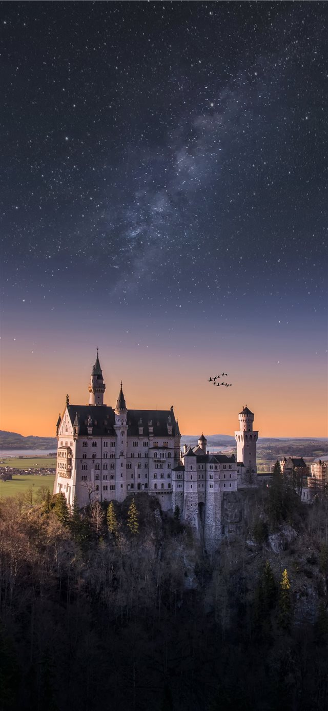 white and blue castle iPhone 11 wallpaper