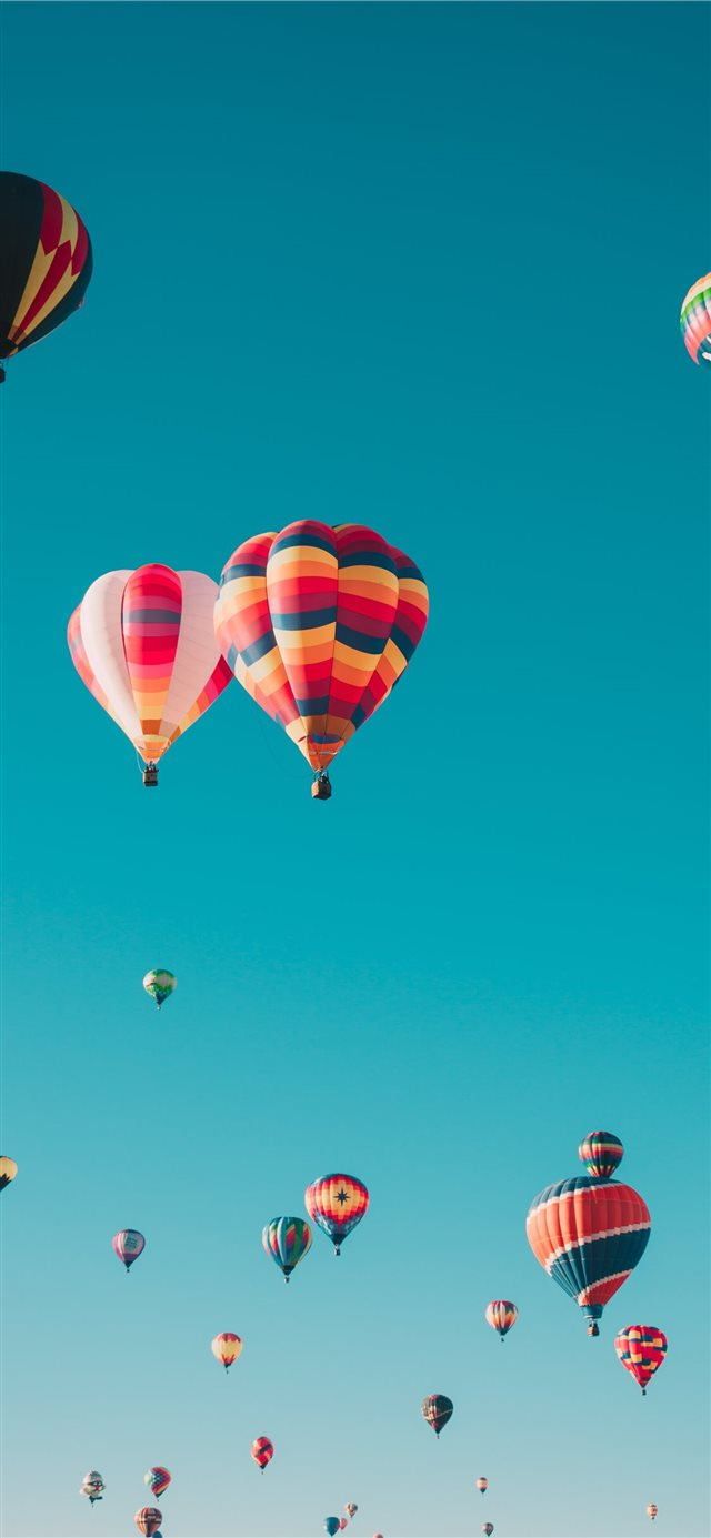 assorted hot air balloons flying at high altitude ... iPhone 11 wallpaper