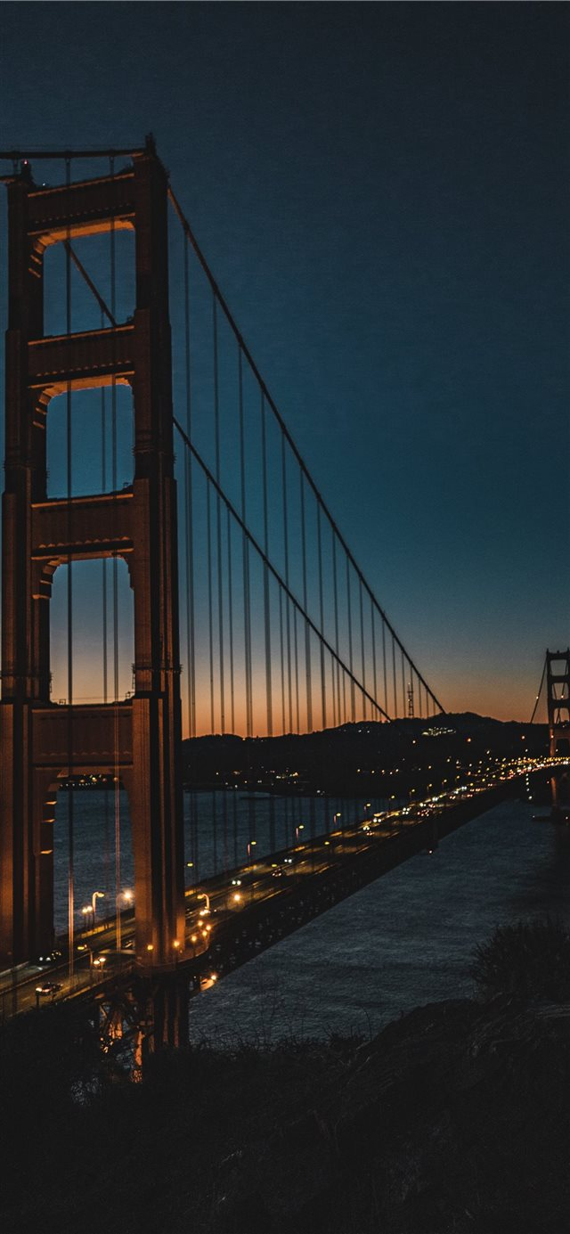 golden gate at night iPhone X wallpaper