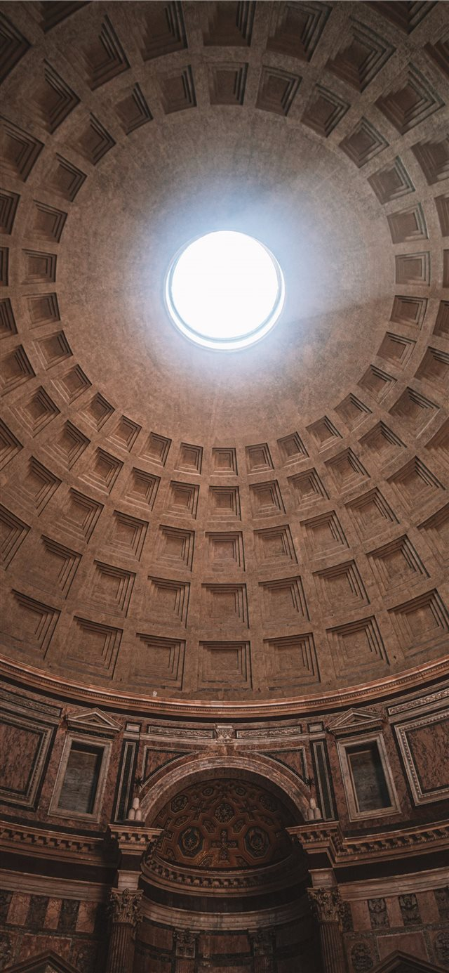 inside Pantheon temple in Rome Italy iPhone 11 wallpaper
