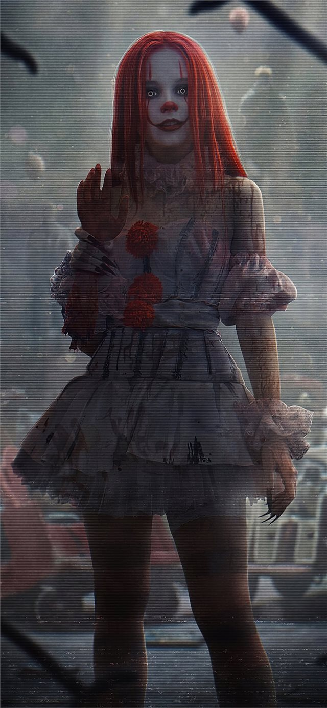 it clown girl 4k iPhone X wallpaper