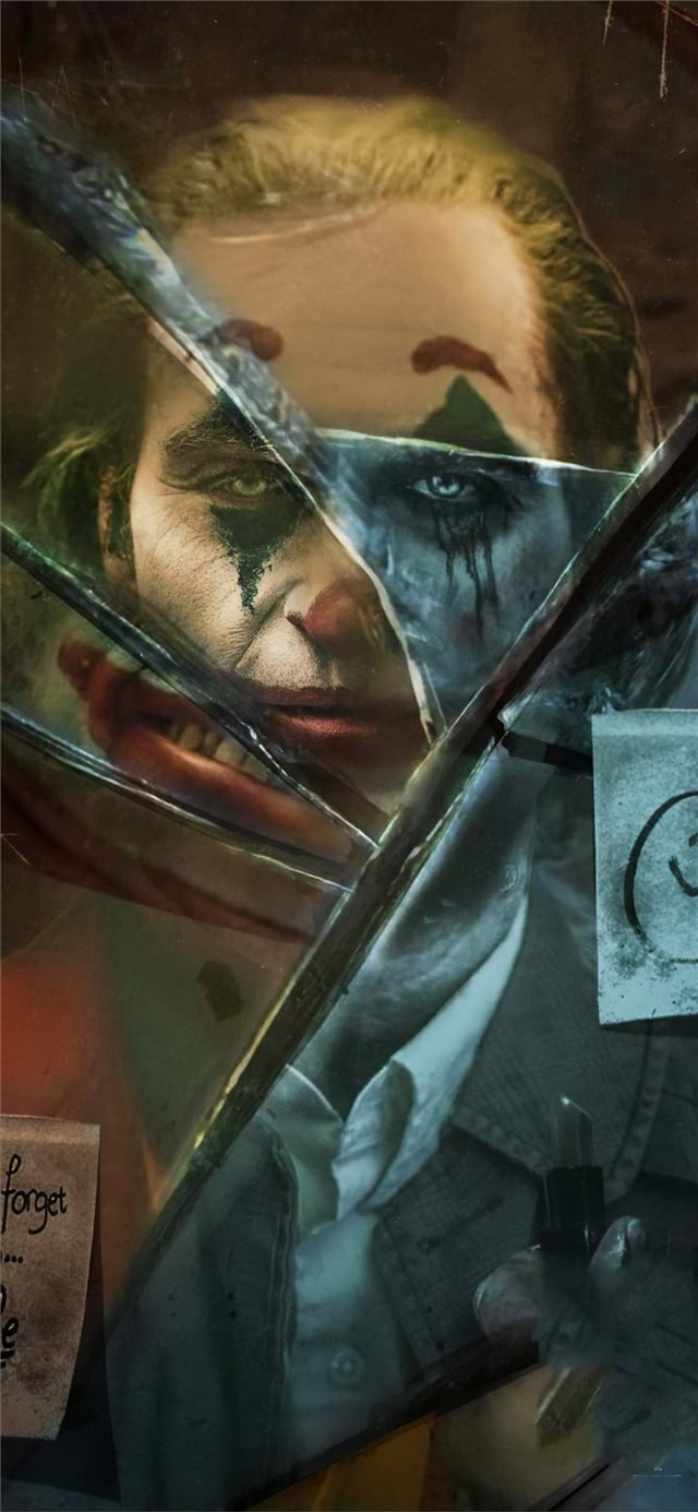 joker movie broken glass iPhone X wallpaper