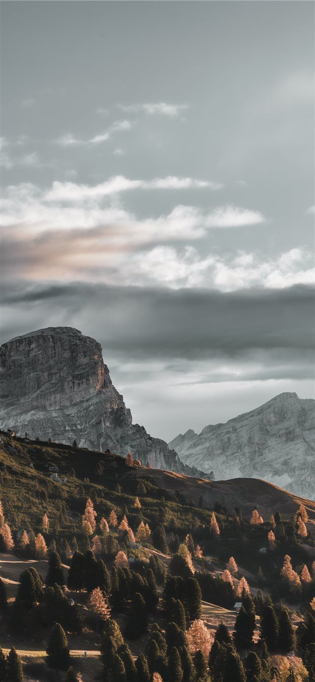 landscape photography of gray and green mountain iPhone X wallpaper