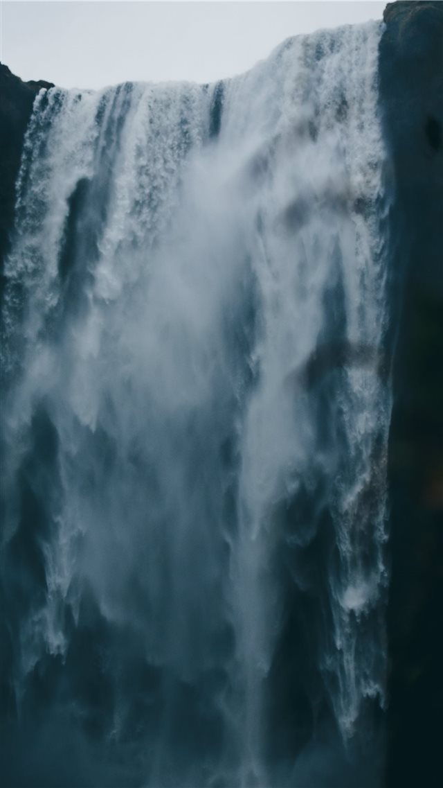low angle photography of waterfall iPhone SE wallpaper