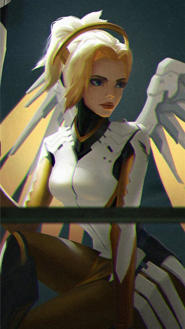 mercy overwatch game art 4k iPhone SE wallpaper