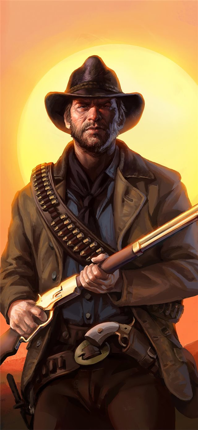 red dead redemption art iPhone X wallpaper