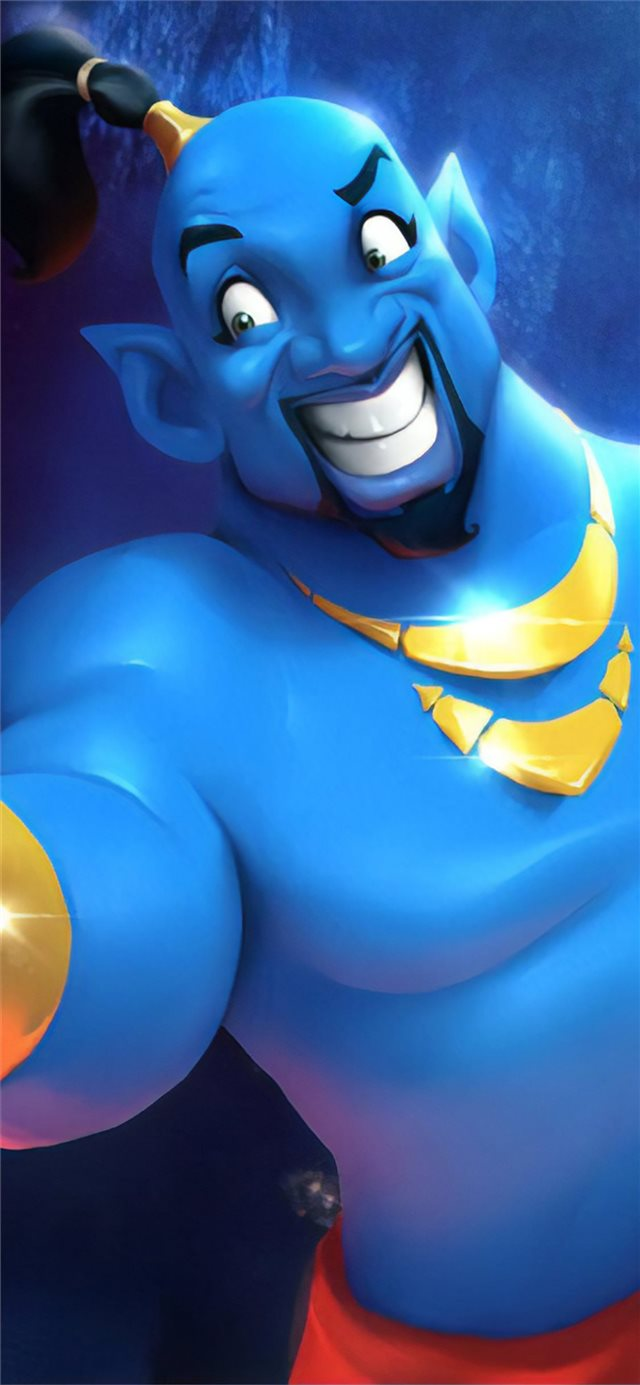 will smith as genie cartoon art iPhone X wallpaper
