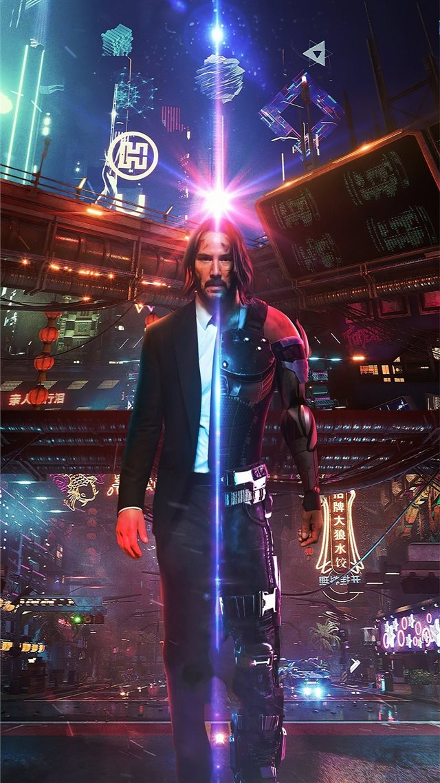 john wick as cyberpunk iPhone 8 wallpaper