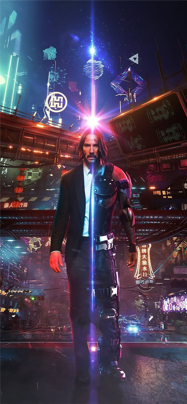 john wick as cyberpunk iPhone X wallpaper