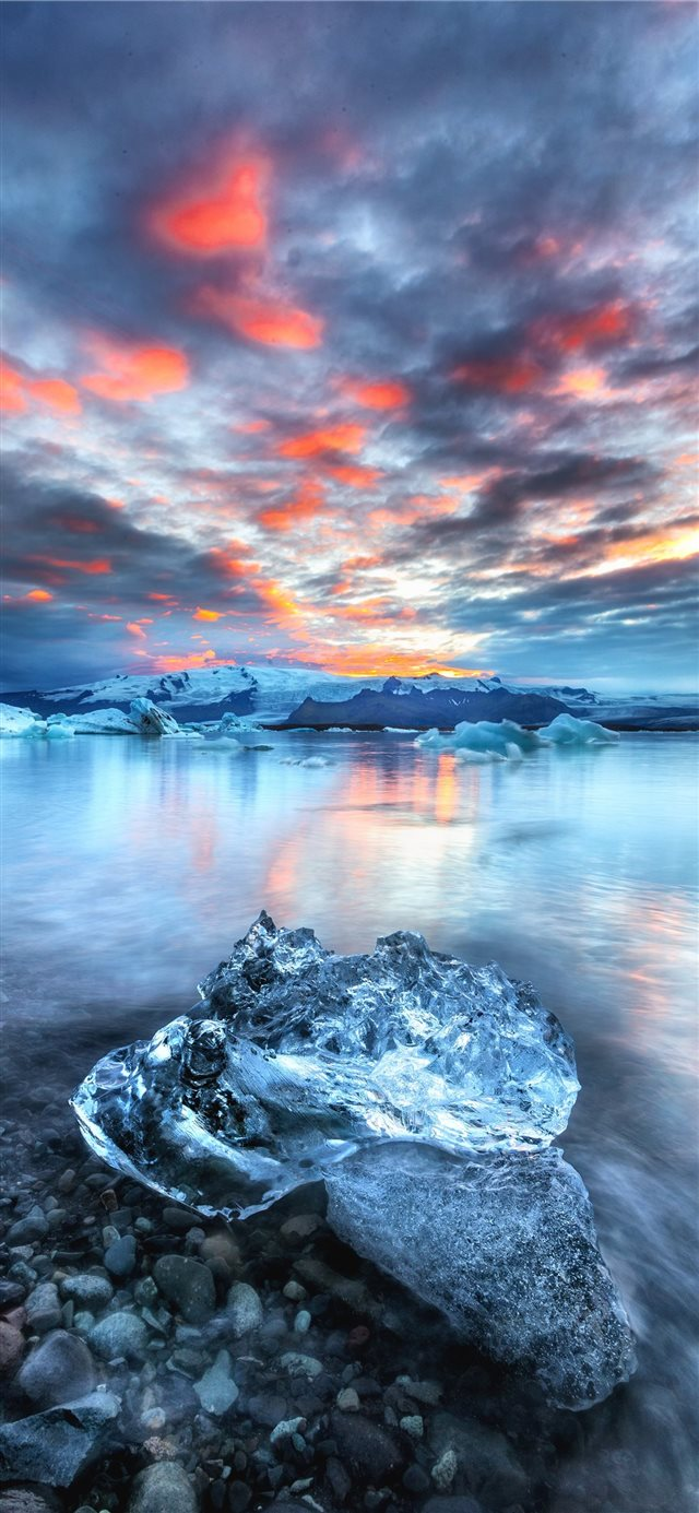 block of ice near water iPhone 11 wallpaper