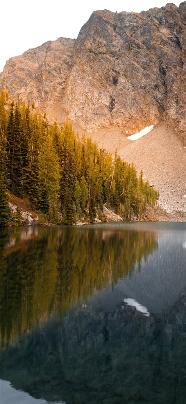 lake beside trees and mountain iPhone X wallpaper