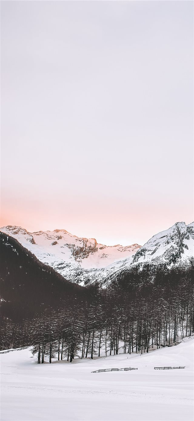 snow covered mountains iPhone X wallpaper