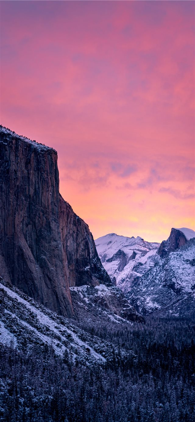 Winter Sunrise in Yosemite iPhone X wallpaper