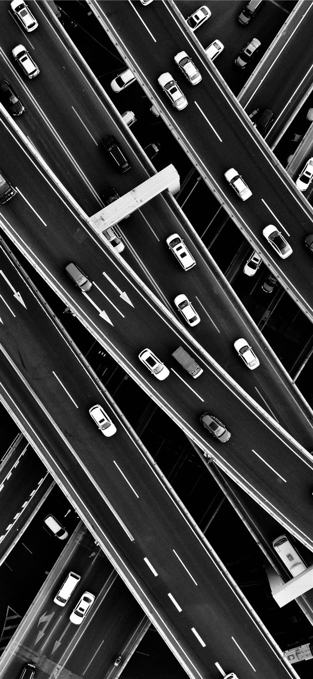 aerial grayscale photography of cars in the street... iPhone 11 wallpaper
