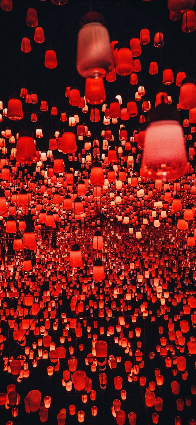 hundreds of Chinese lanterns at the teamLab Border... iPhone X wallpaper