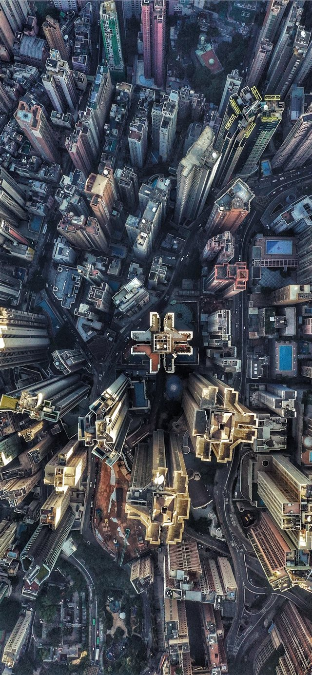 aerial photography of buildings iPhone X wallpaper