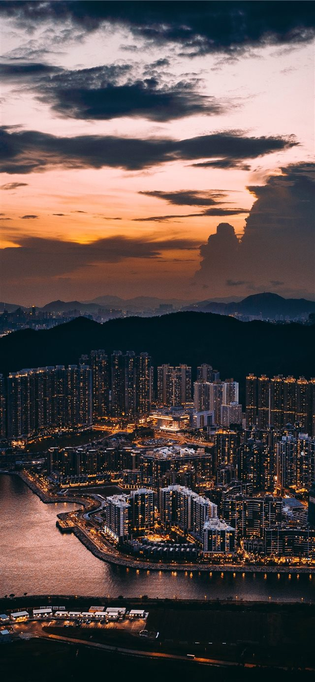 aerial photography of city at night iPhone X wallpaper