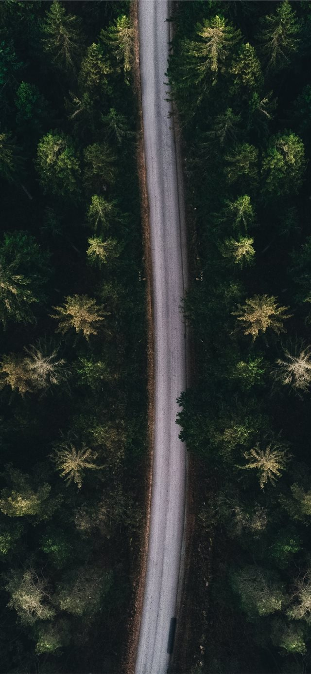 aerial photography of road iPhone X wallpaper