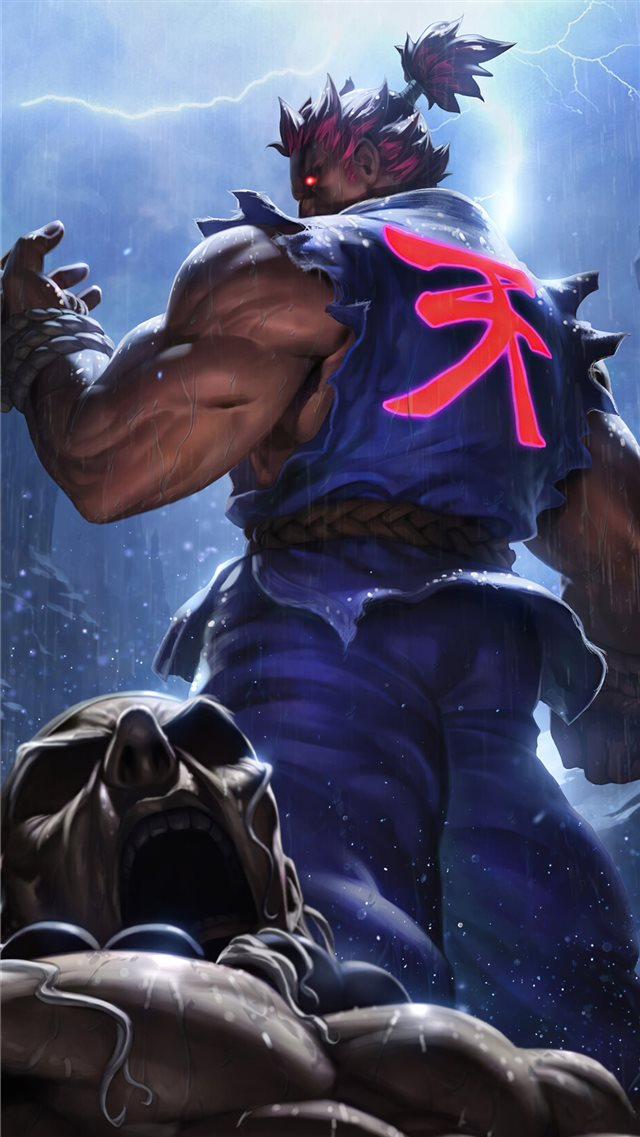 akuma street fighter game 4k iPhone SE wallpaper