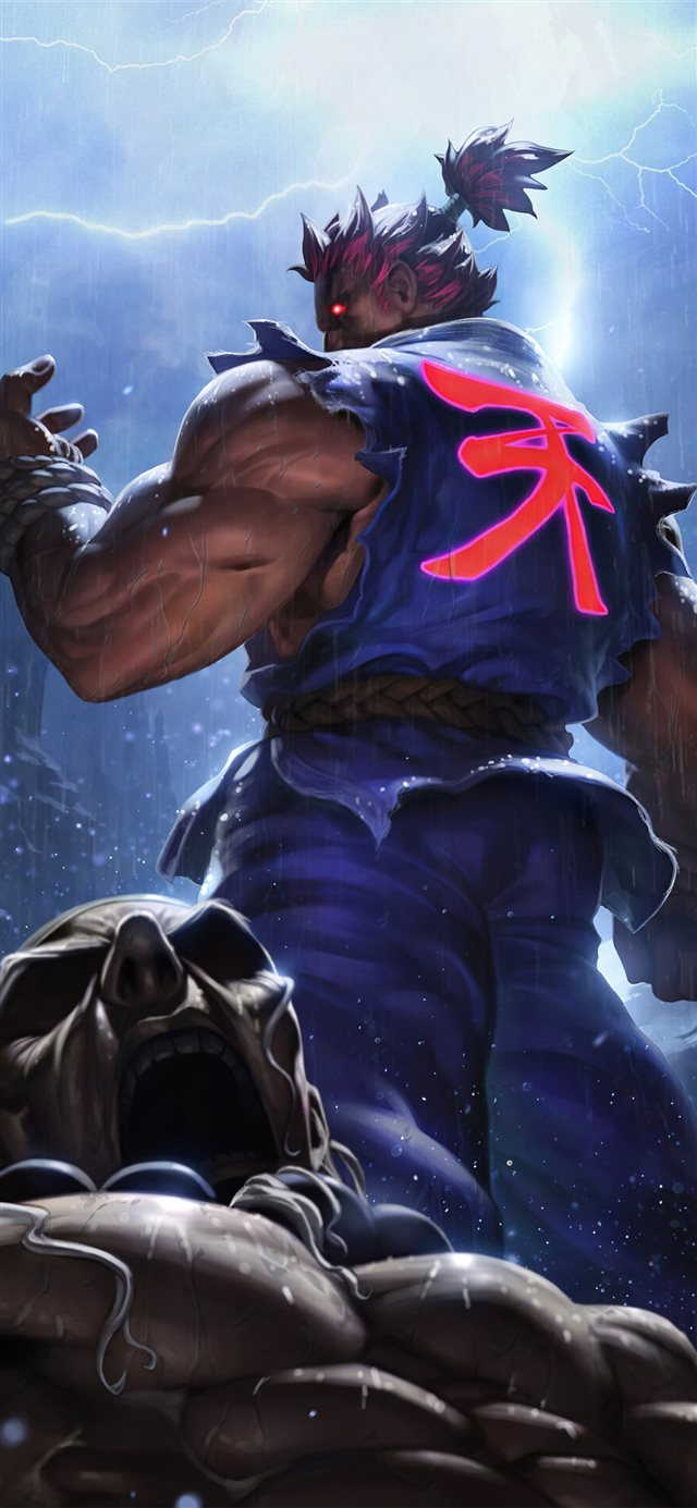 akuma street fighter game 4k iPhone X wallpaper