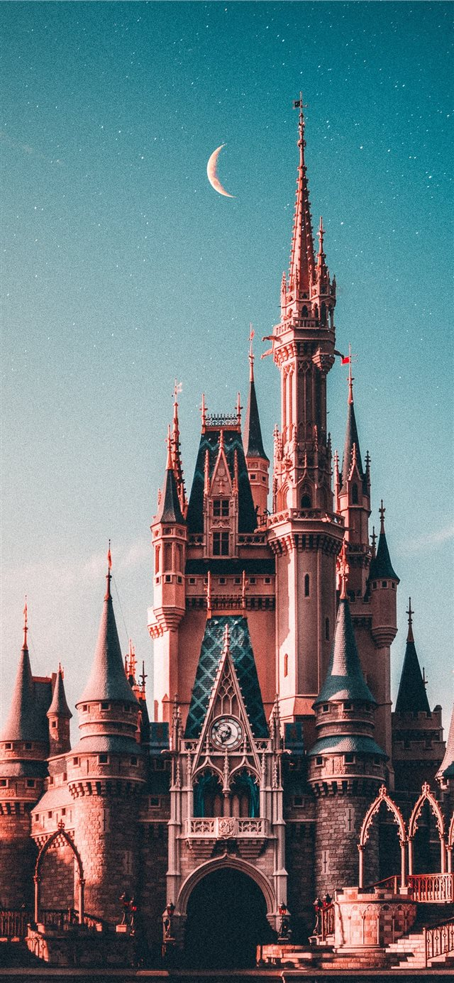 blue and beige Disneyland castle iPhone X wallpaper