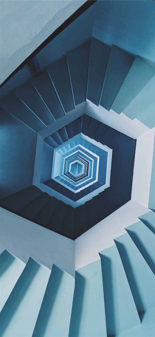blue spiral staircase iPhone X wallpaper