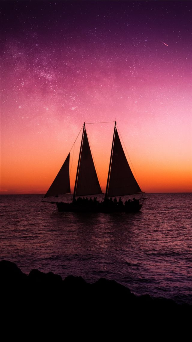 sail ship on sea iPhone SE wallpaper