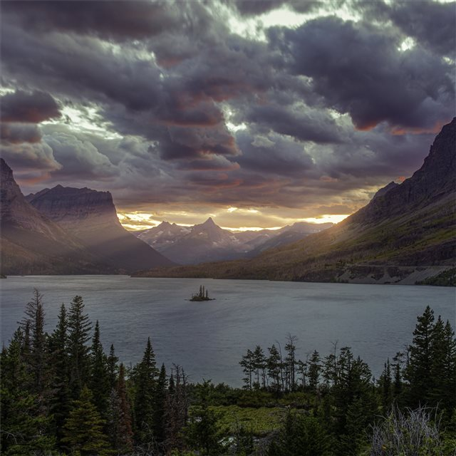 sunset at st mary lake glacier national park 5k iPad Pro wallpaper