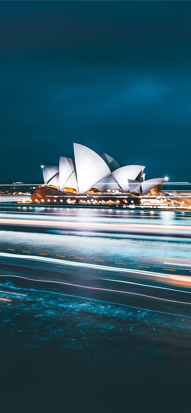 Sydney Opera House during nighttime iPhone X wallpaper