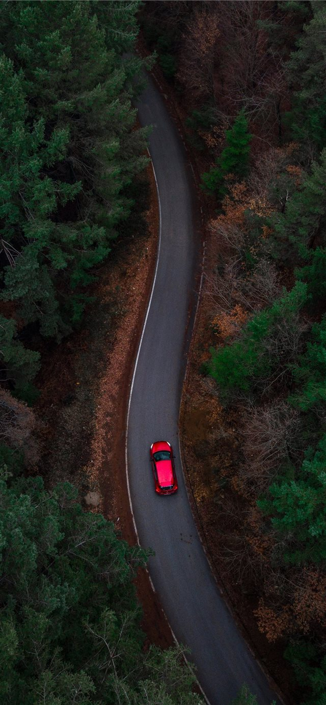 aerial photo of red car passing by green trees iPhone X wallpaper