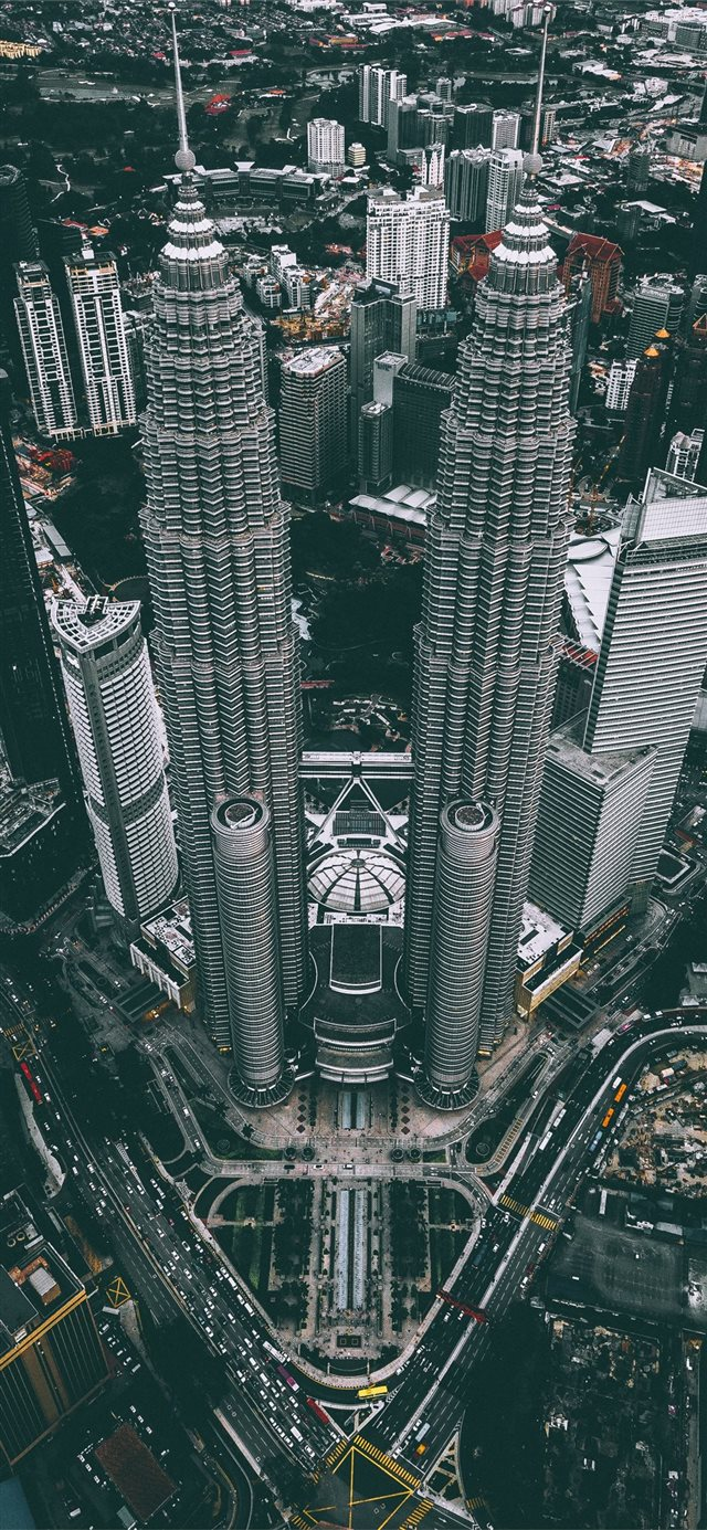 aerial photograph of Petronas Twin Tower Malaysia iPhone X wallpaper
