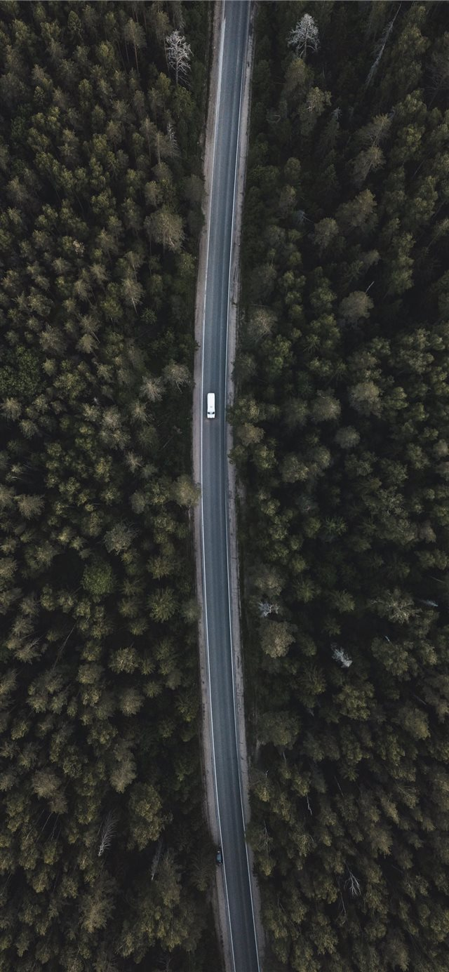 aerial photography of white vehicle on street iPhone X wallpaper