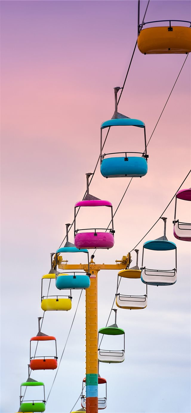 empty multicolored cable cars iPhone 11 wallpaper
