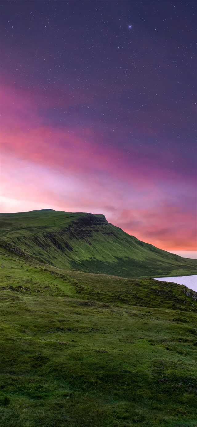 green mountain under purple sky iPhone 11 wallpaper