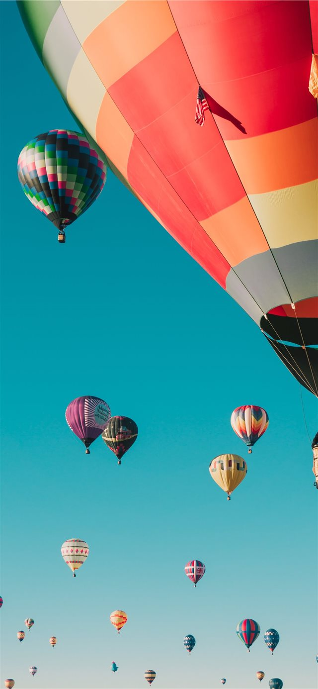 hot air balloons under blue sky iPhone 11 wallpaper