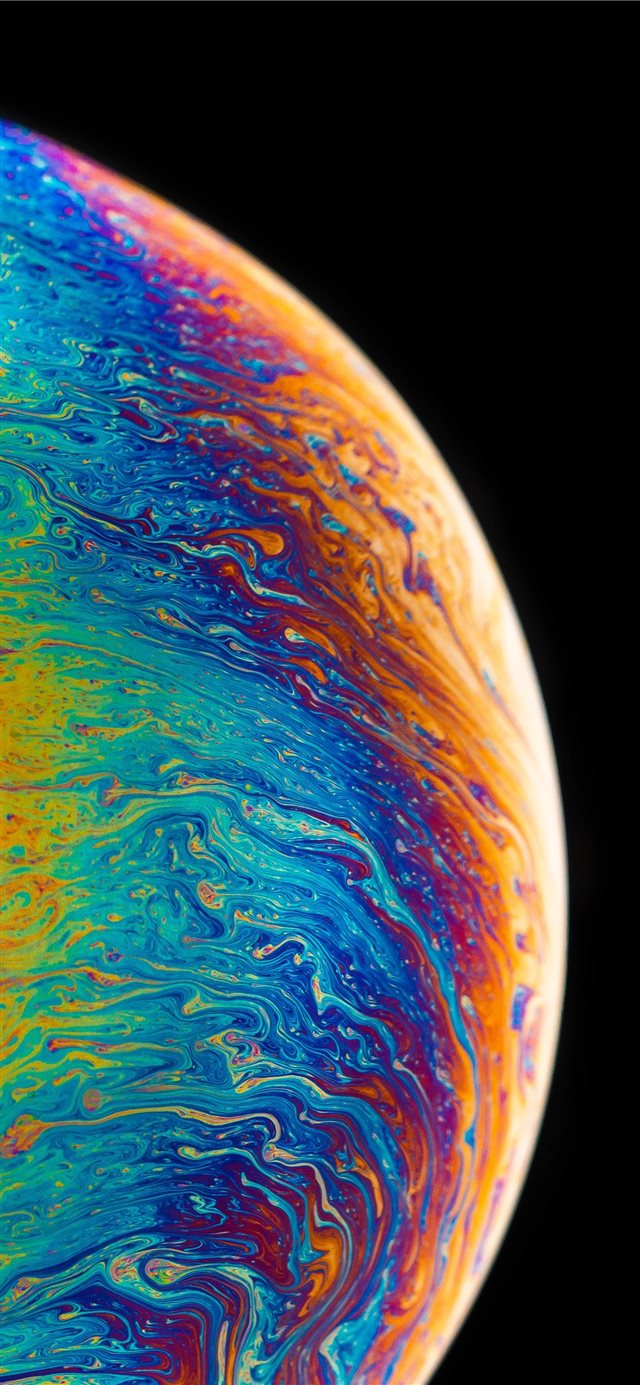 multicolored planet fluid painting iPhone 11 wallpaper