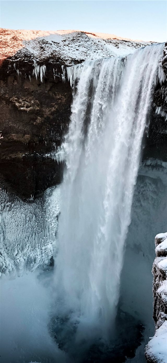 waterfalls at daytime iPhone X wallpaper