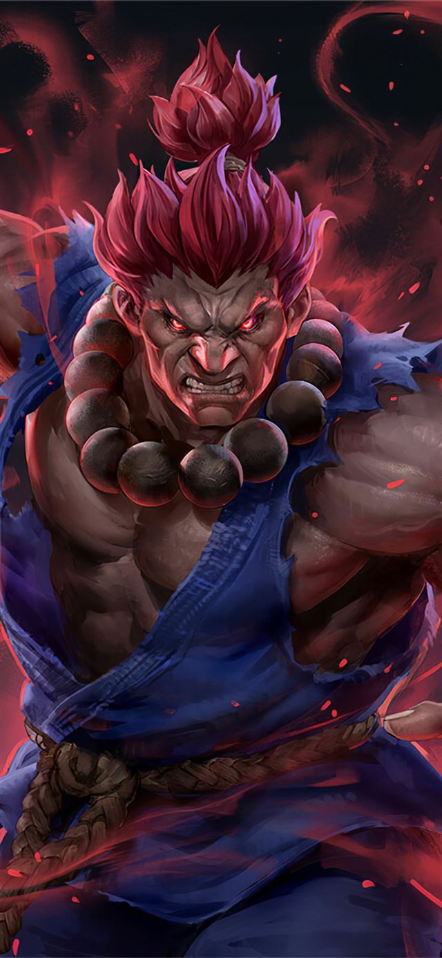 akuma street fighter artwork iPhone X wallpaper