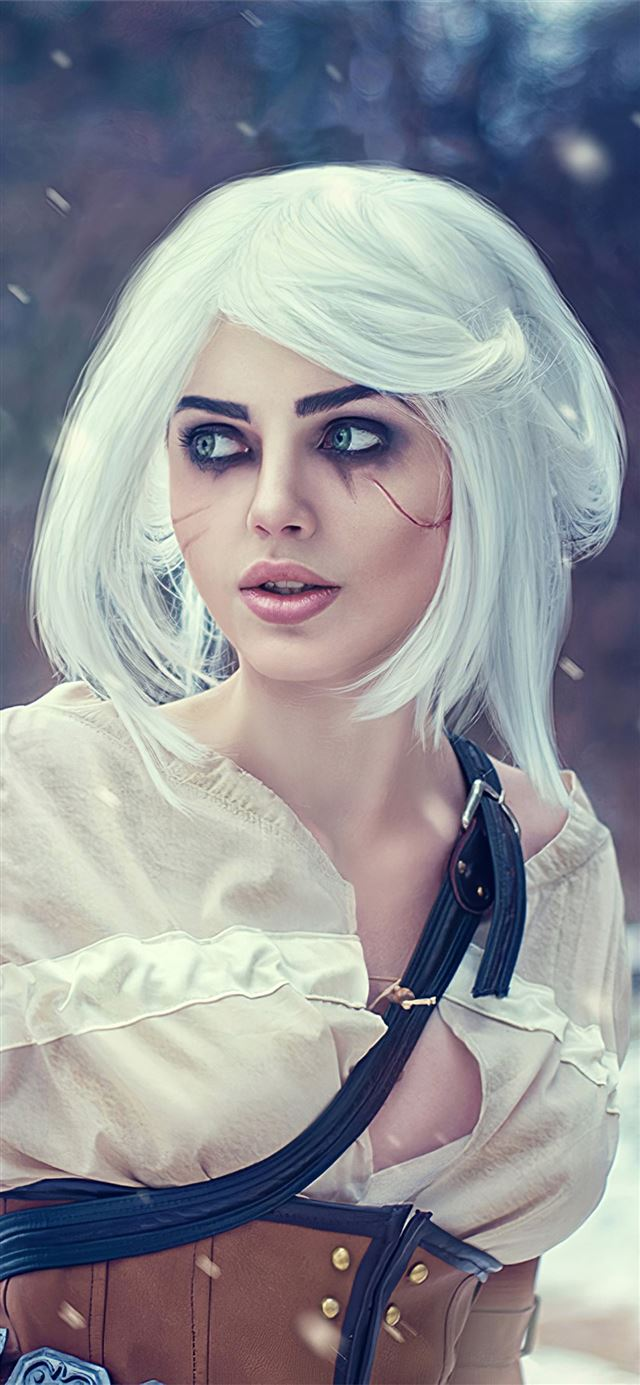 ciri the witcher 3 wild hunt cosplay 4k iPhone X wallpaper