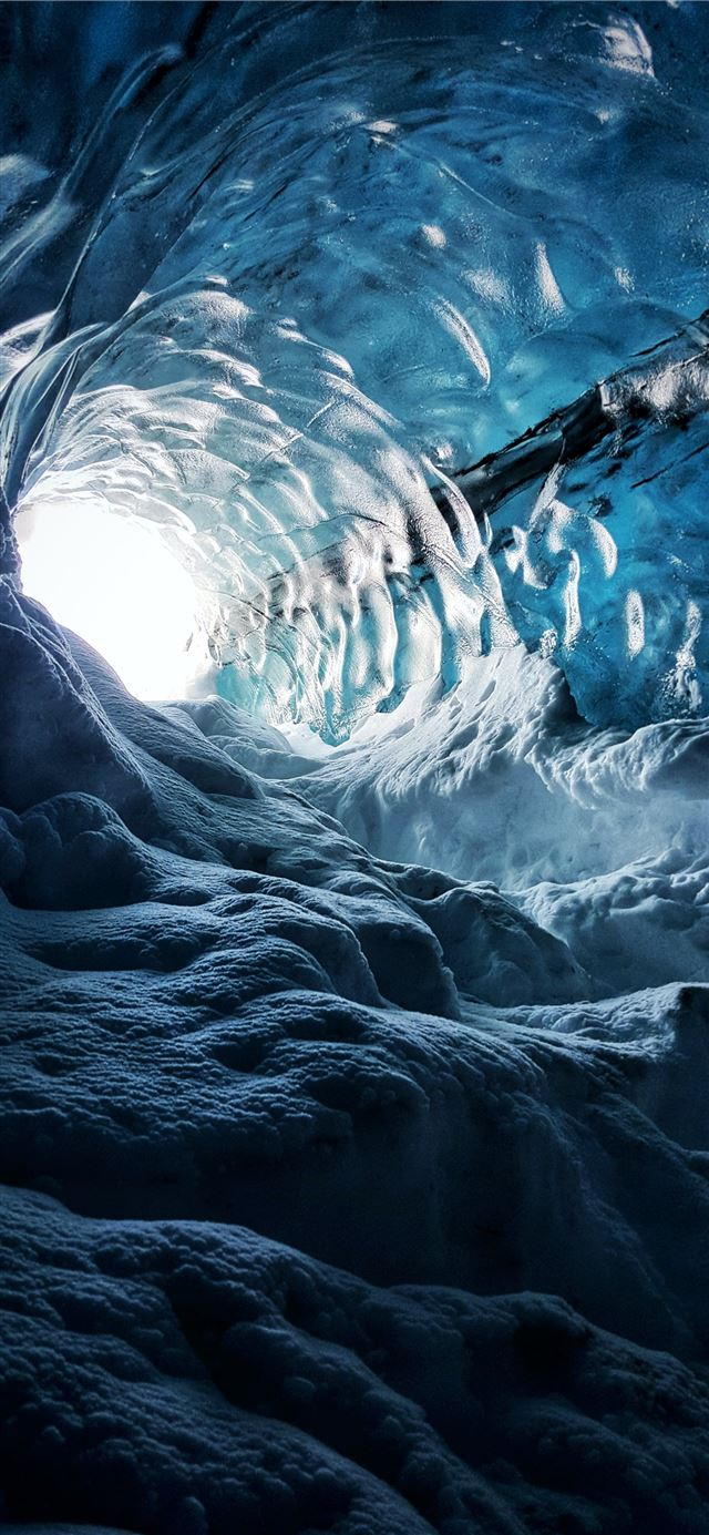 icy cave iPhone 11 wallpaper