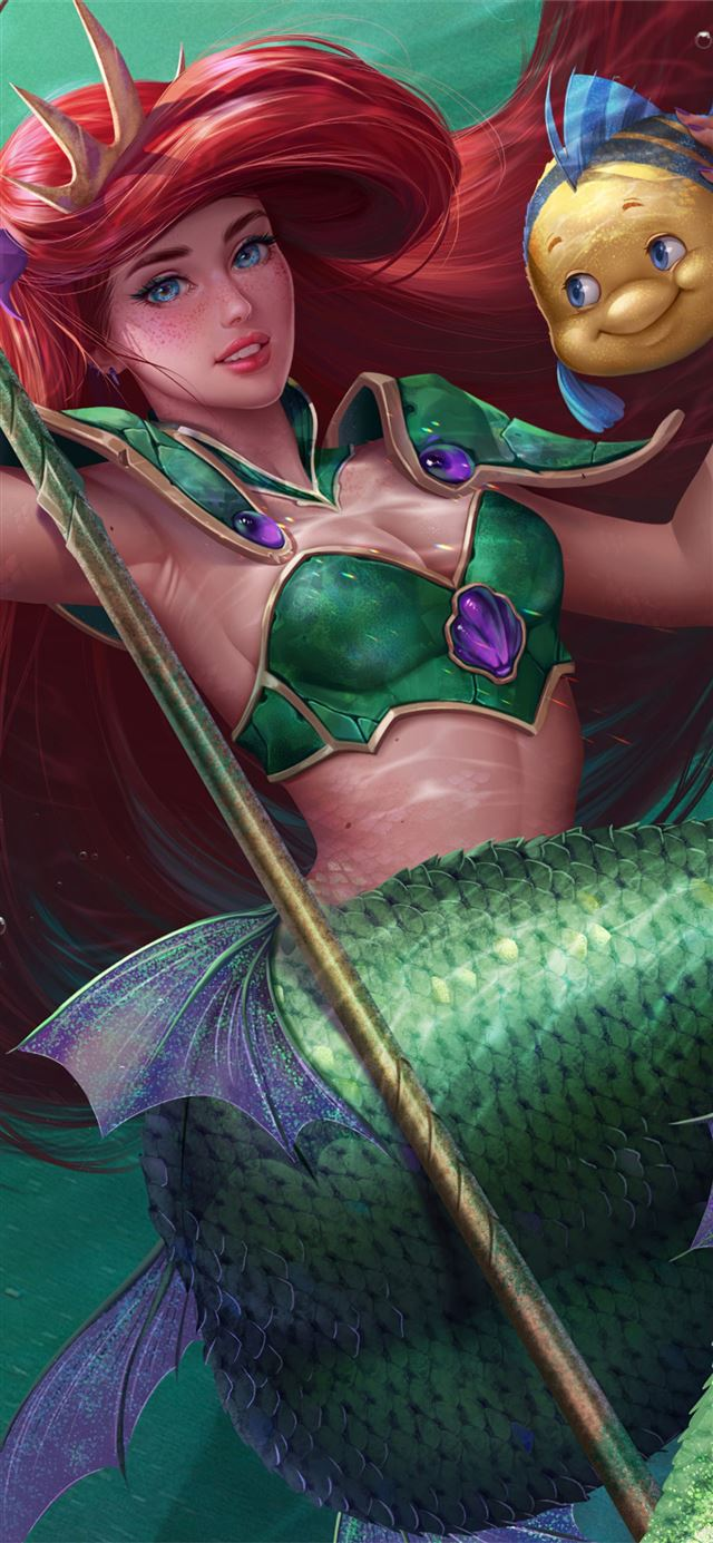 little mermaid fish 4k iPhone 11 wallpaper