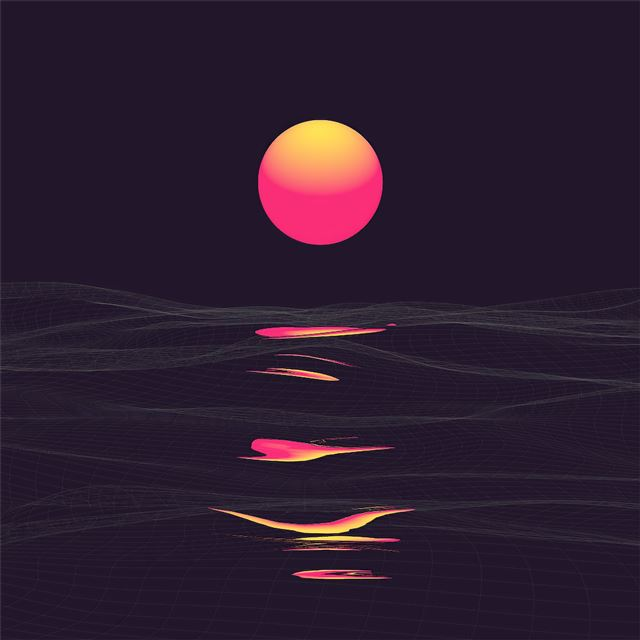 retrowave sunrise reflection clear sky 4k iPad Pro wallpaper