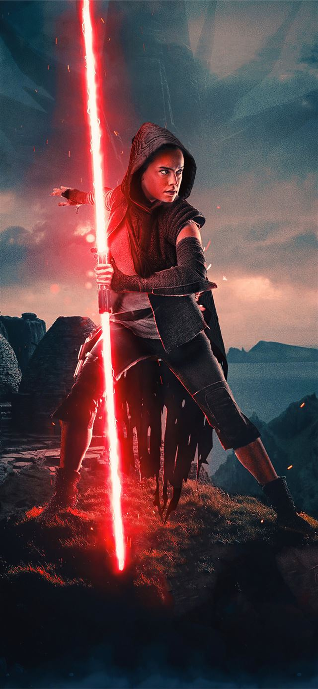 rey red light saber iPhone 11 wallpaper