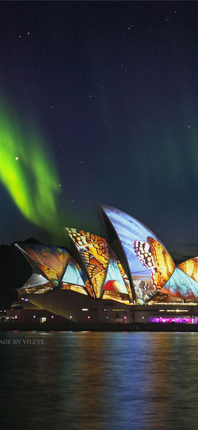 Australia Sydney Opera House Butterflies Monarch i... iPhone 11 wallpaper