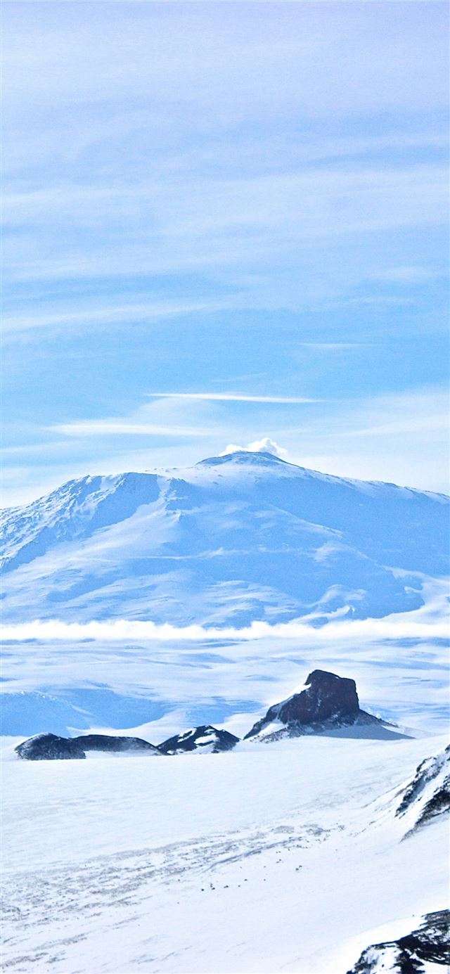Erebus Antarctica volcano snow winter 5k Nature iPhone X wallpaper