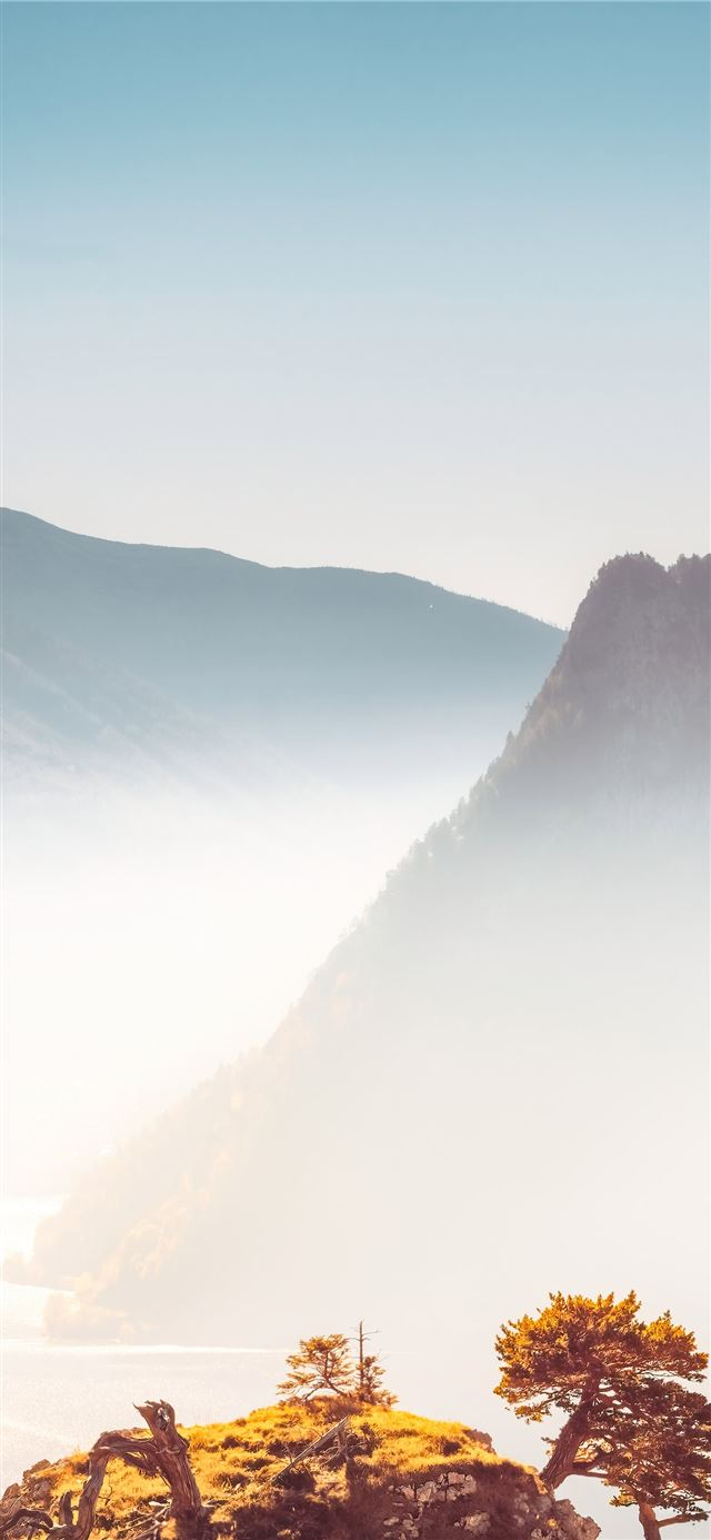 foggy mountains iPhone X wallpaper
