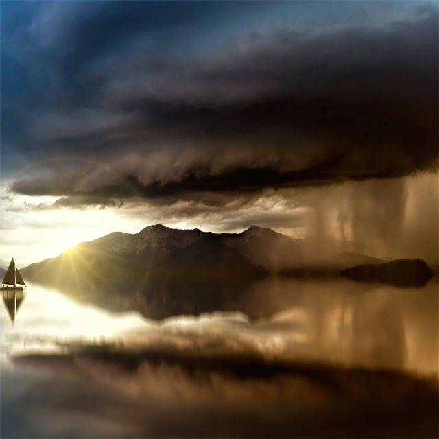 lake refection small boat 5k iPad wallpaper