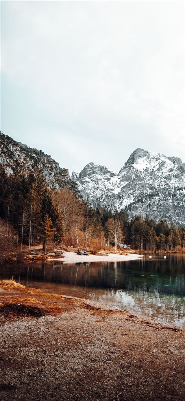 lake surrounded by trees and mountains during dayt... iPhone X wallpaper